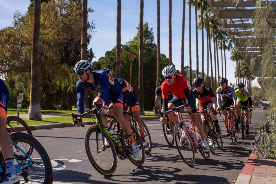 bicyclists participating in race