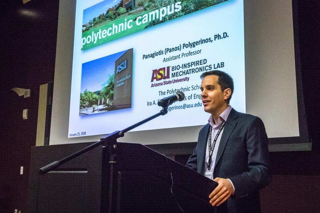 Panagiotis Polygerinos speaks at the Southwest Robotics Symposium