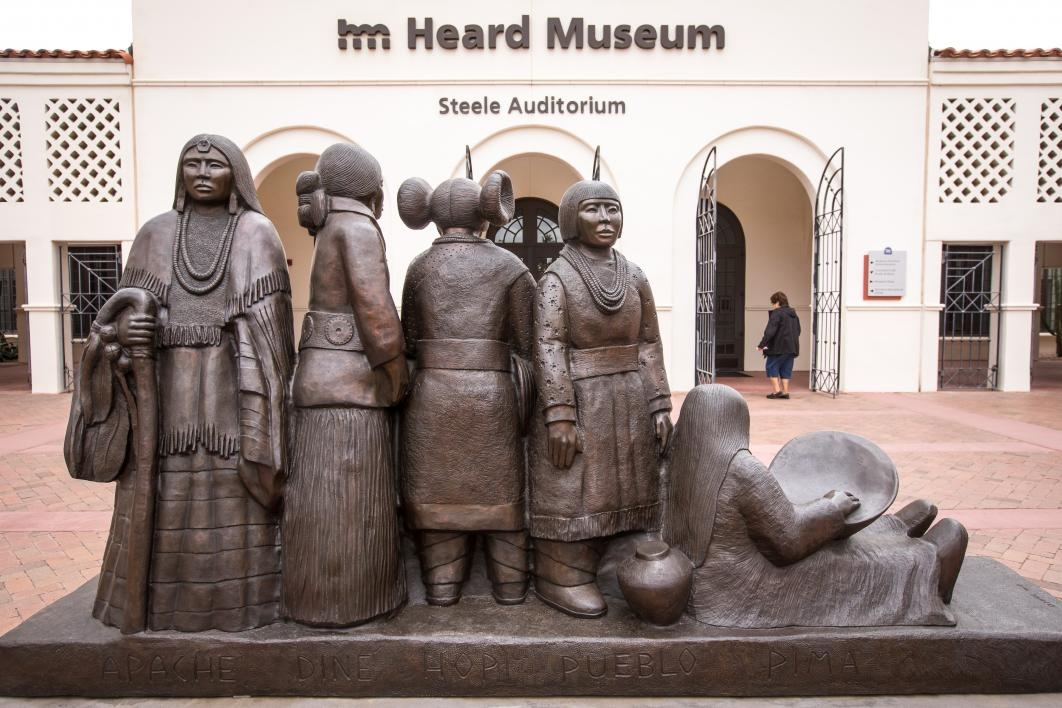 "Doug Hyde's bronze sculpture ""Intertribal Greeting"" in courtyard of Heard Museum"