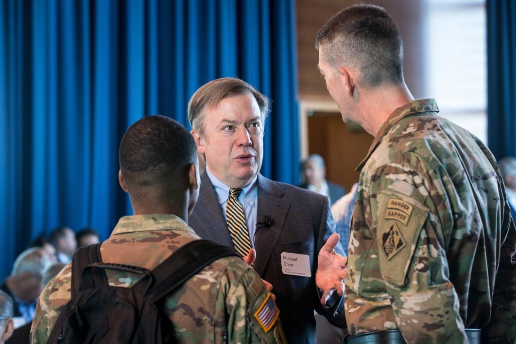President Crow speaks to Army engineers at an event