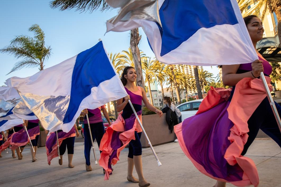 A high school color guard leads a procession at the ASU GSV Summit
