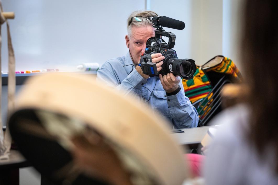 Cameraman shooting a scene