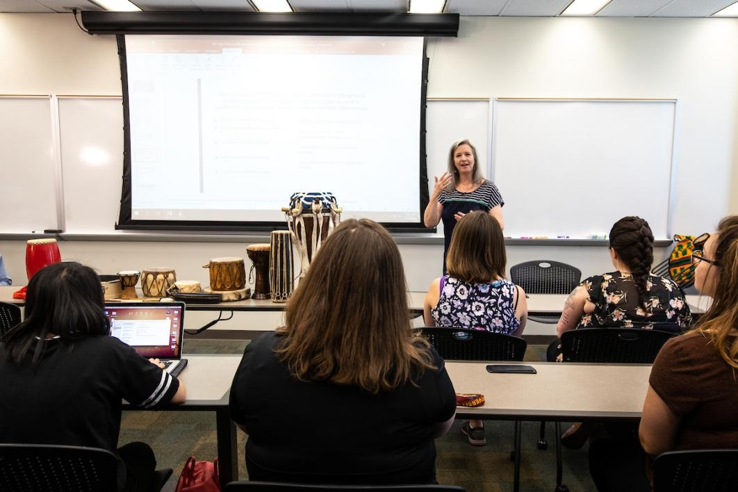 Women lecturing a class