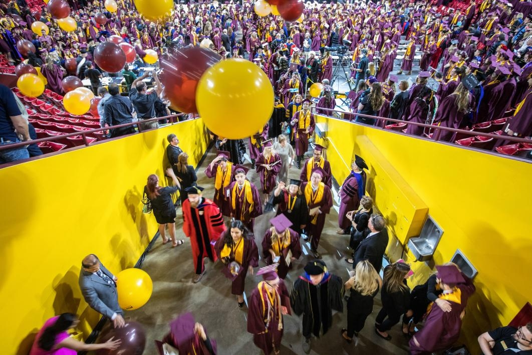 balloons dropping on graduation ceremony