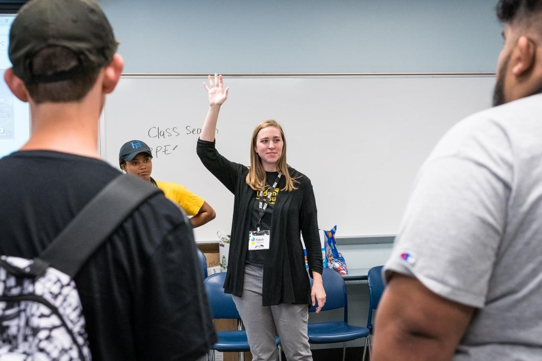 ASU Bridging Success Early Start management intern Kalah Villagrana gets students started on the project