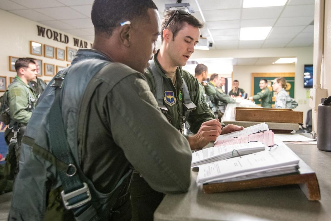 Flight briefing at Luke Air Force Base