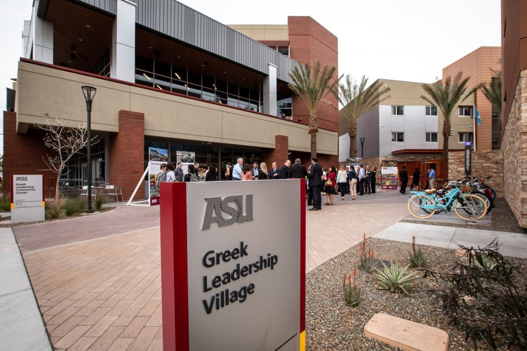 exterior of the asu greek leadership village