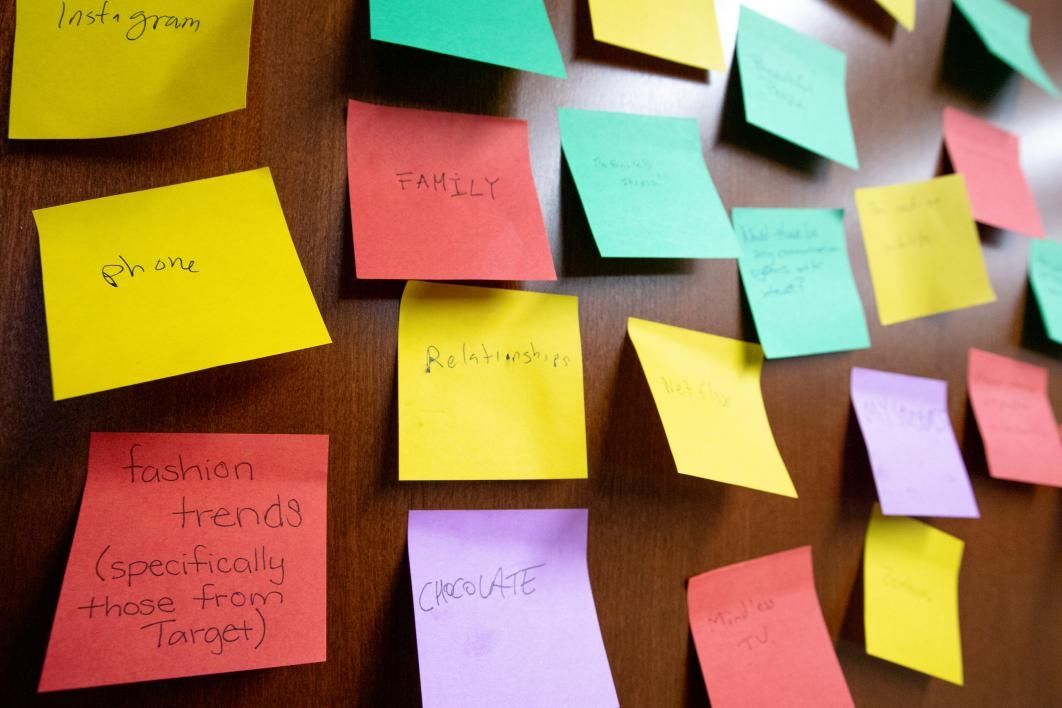 post-it notes with words written on them