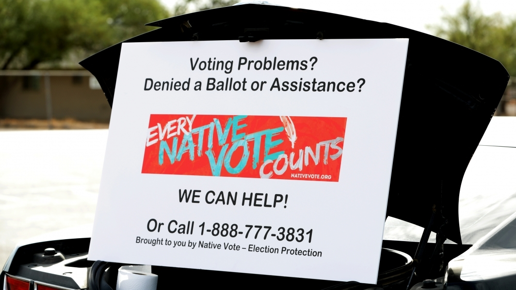Photo of ASU Law Indian Legal Clinic Native vote hotline sign