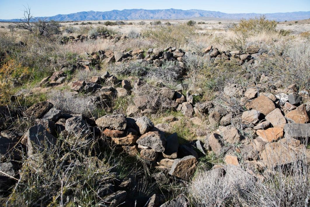 remnants of masonry in Perry Mesa