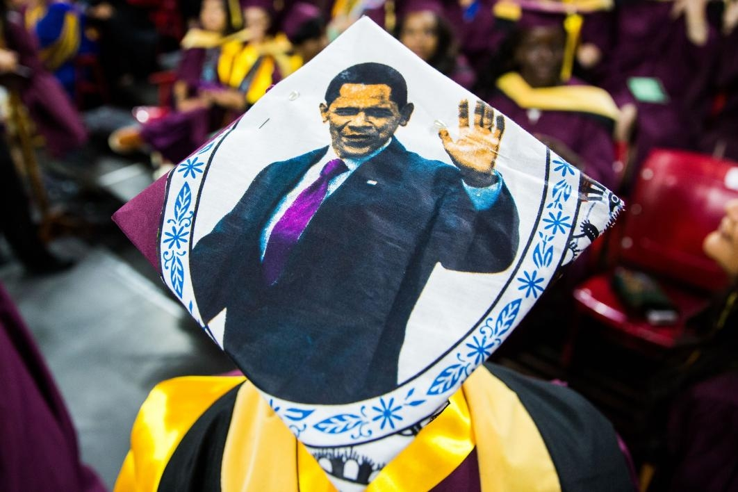 A decorated cap at Graduate Commencement