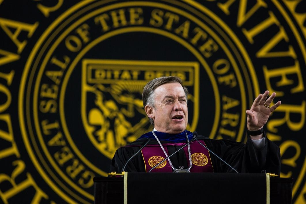 ASU President Crow speaking at commencement