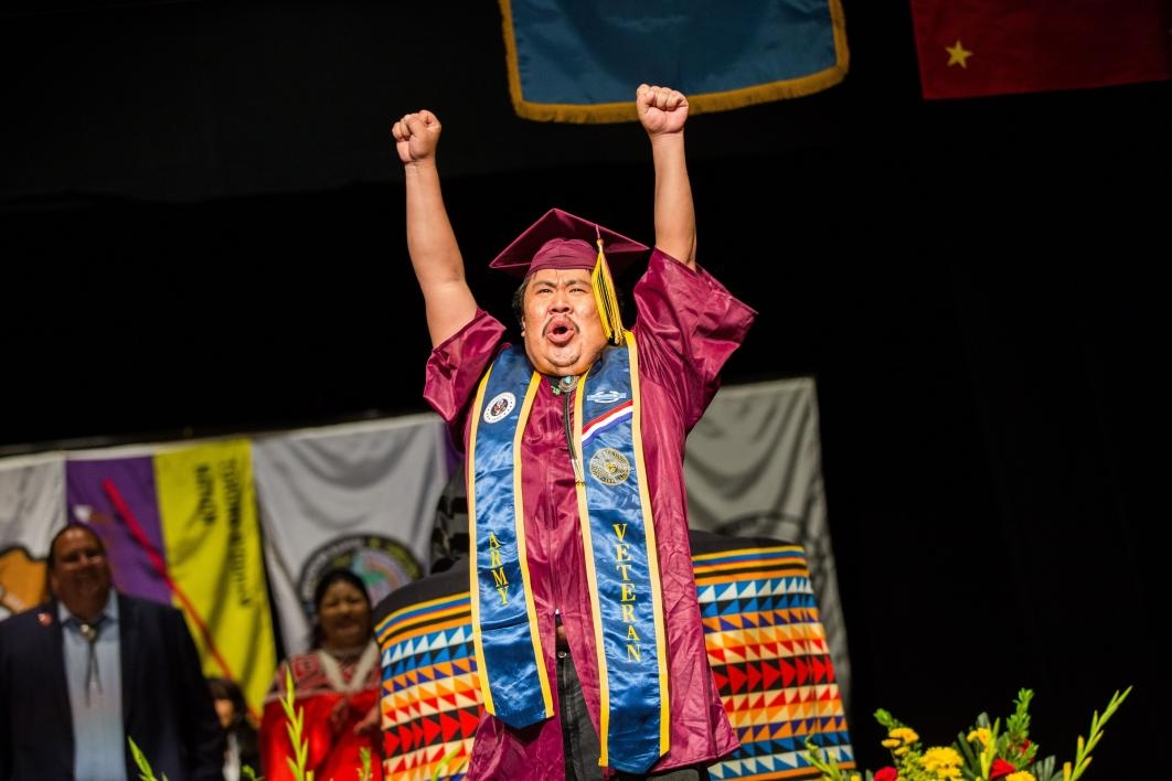 graduate celebrating after getting diploma