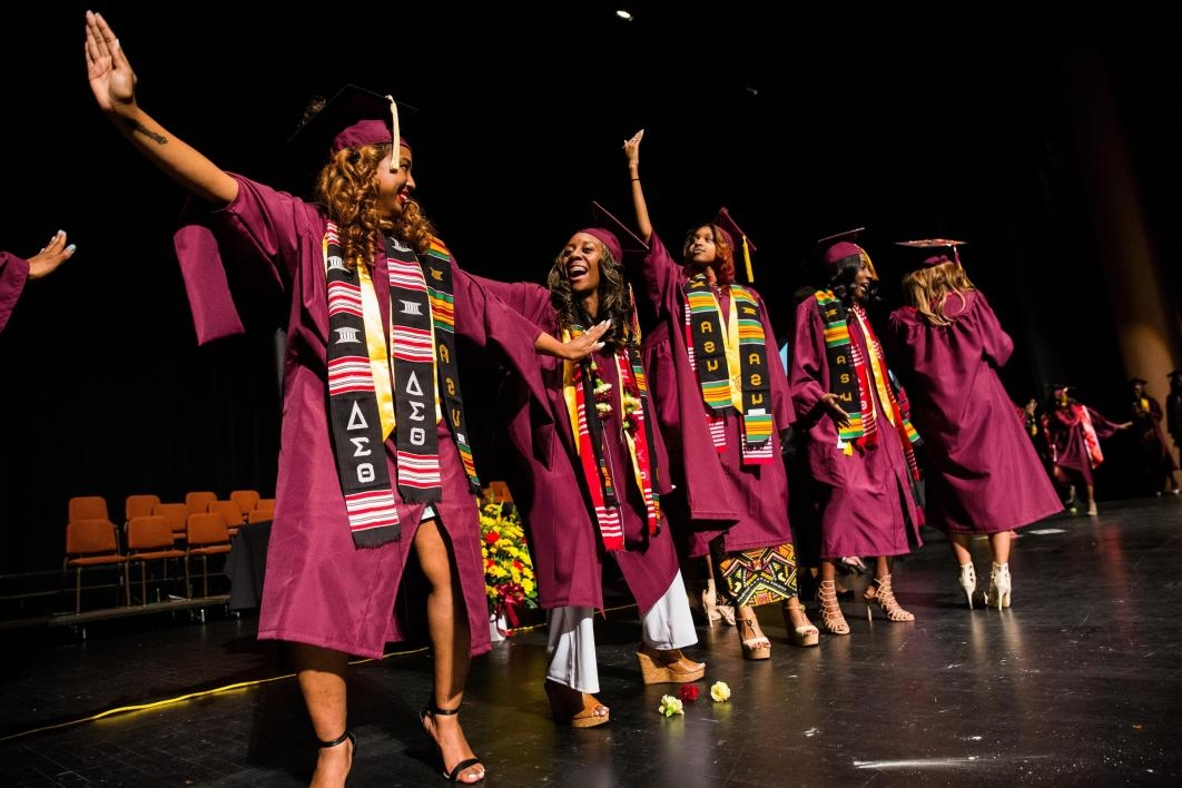 ASU graduates crossing stage at convocation