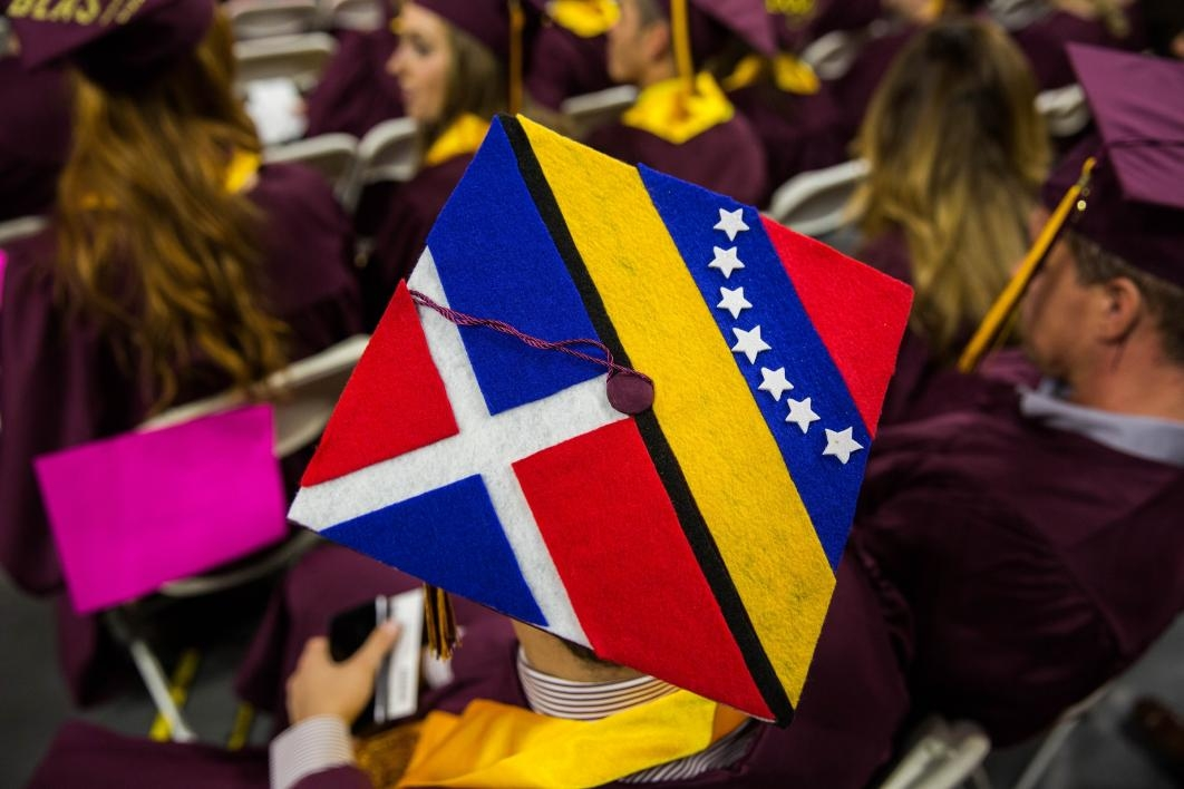 graduation cap displaying Dominican Republic and Venezuelan flags