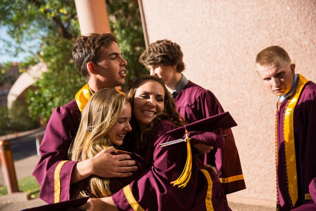 Students celebrate after the ASU Prep-Polytechnic commencement