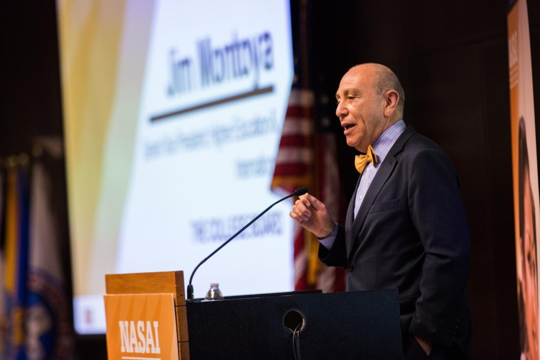 Jim Montoya of the College Board speaks at the NASAI conference