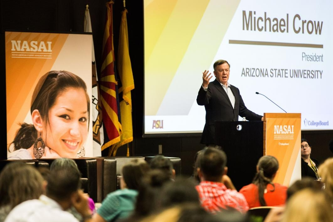 ASU President Michael Crow speaks at the NASAI conference