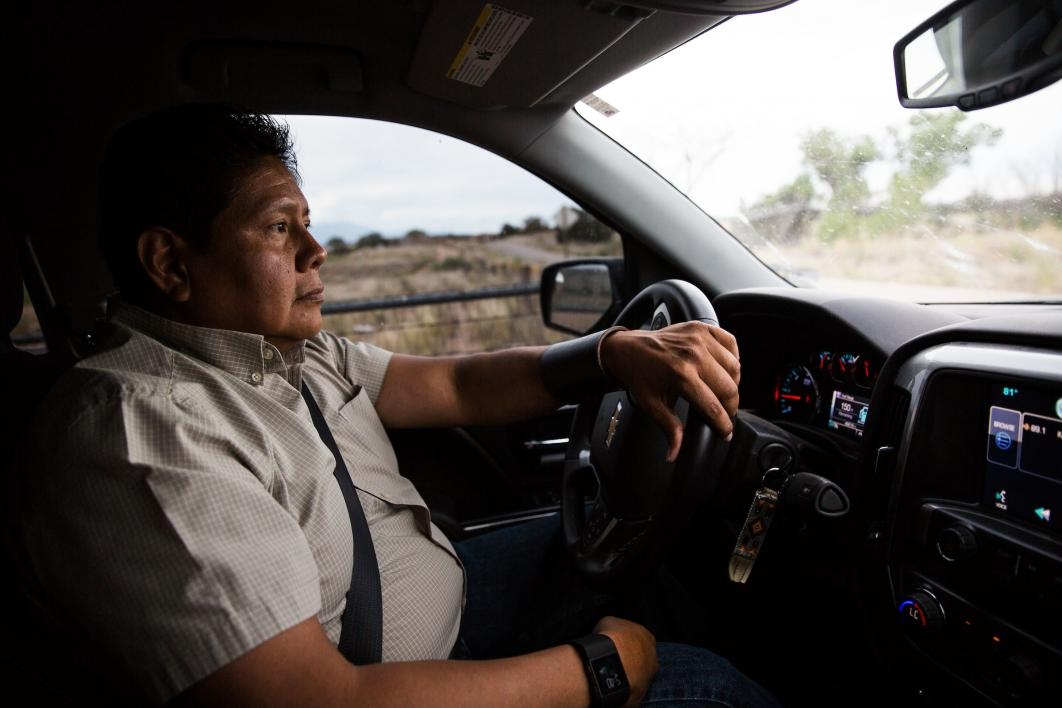 Ken Lucero drives around his home in Zia Pueblo in New Mexico