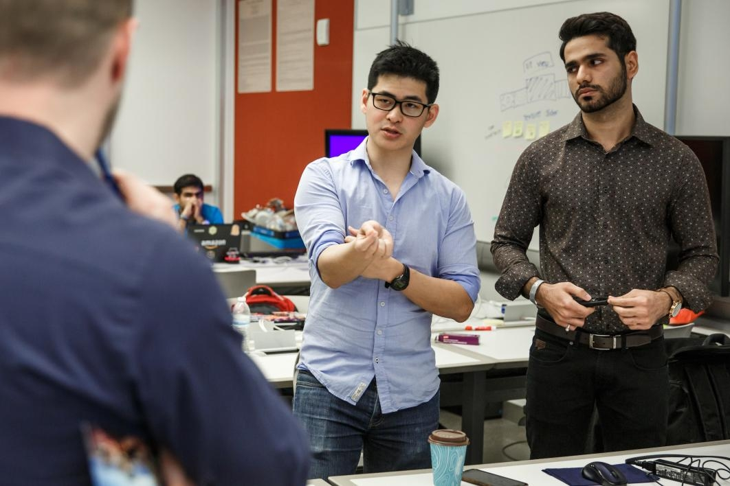 Students pitch their idea at the hackathon