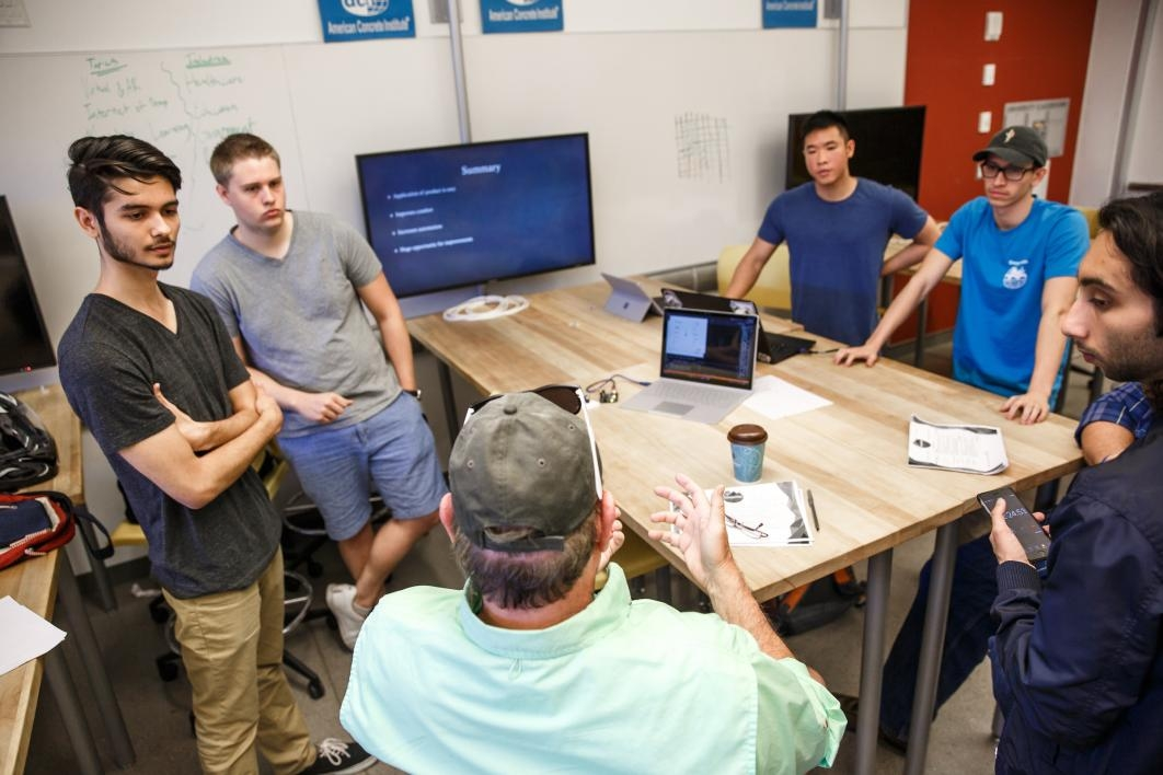 Students pitch their idea to judges during the hackathon