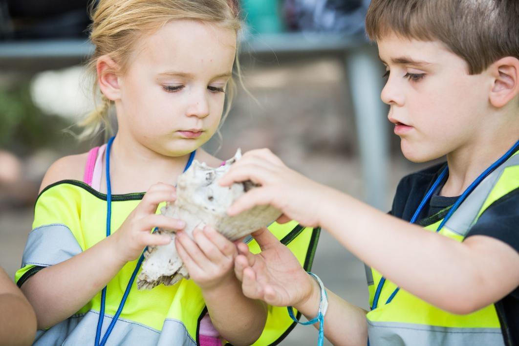 kids looking at jaw bone
