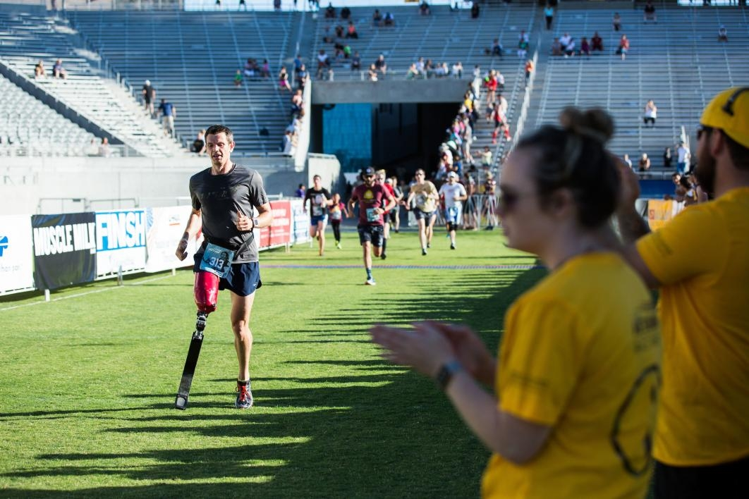 An amputee nears the finish line at Pats Run