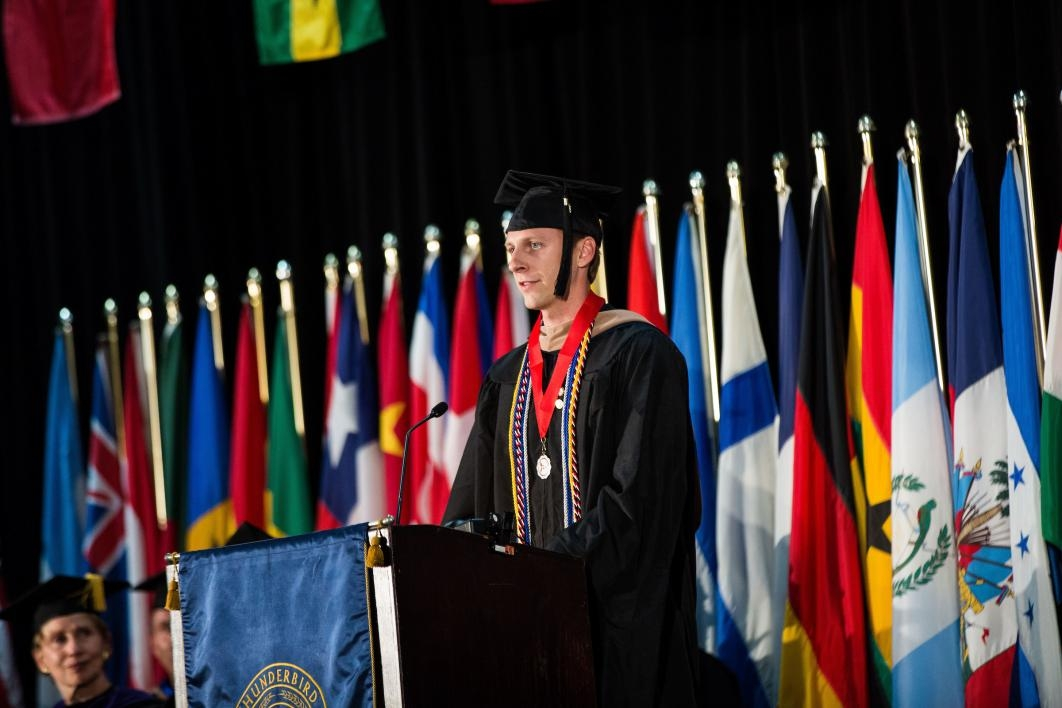 A man speaks at the Thunderbird School of Global Management convocation