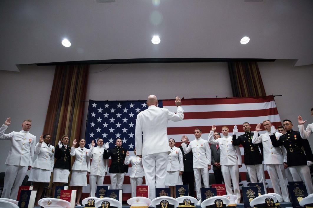 ROTC grads taking oath