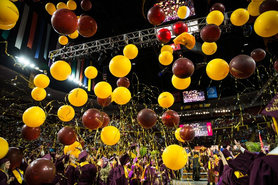 balloons dropping at graduation