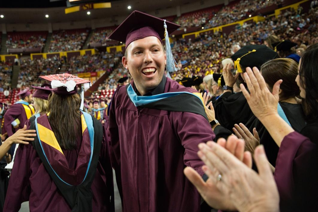 graduate giving profs high-fives