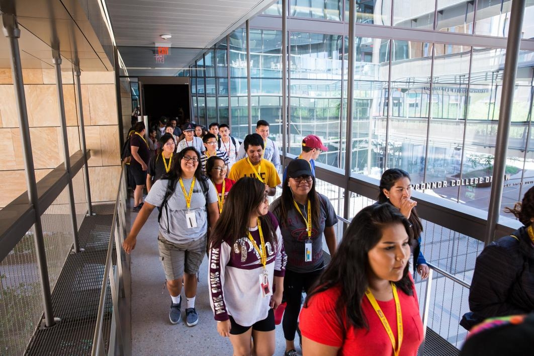 Inspire students make their way to the Indian Legal Program in ASU's Beus Center for Law and Society at the Downtown Phoenix campus.