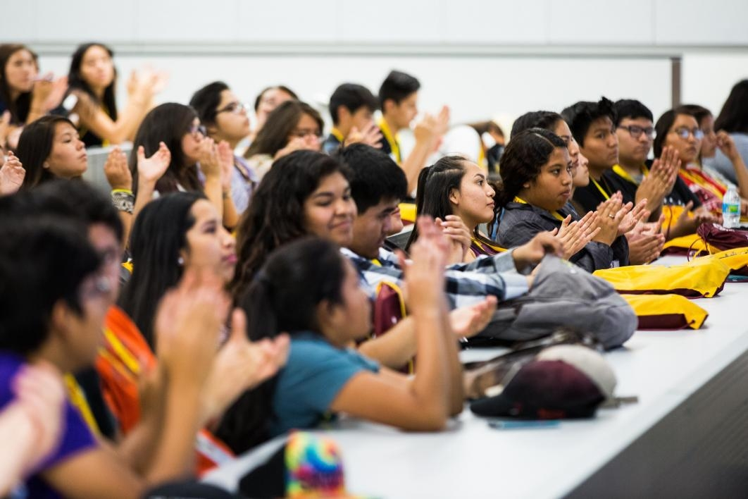Students applaud Indian Legal Program director Kate Rosier's presentation about the program's work, during ASU's Inspire Program for Native high school students.