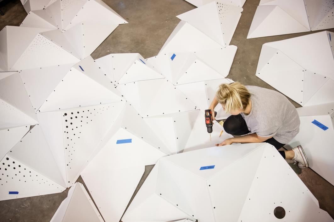Jessica Tsepal A Masters Of Interior Architecture Student And Design School Teaching Assistant Drills Holes In Pieces That Will Create The Canopy Above