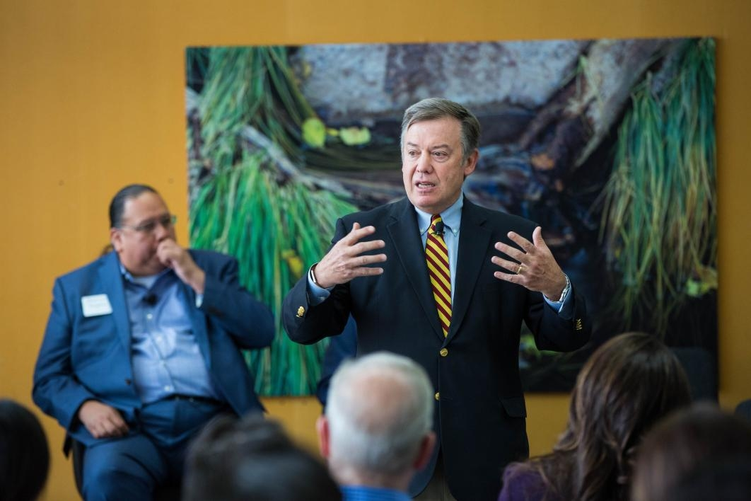 ASU President Michael Crow speaks to a crowd