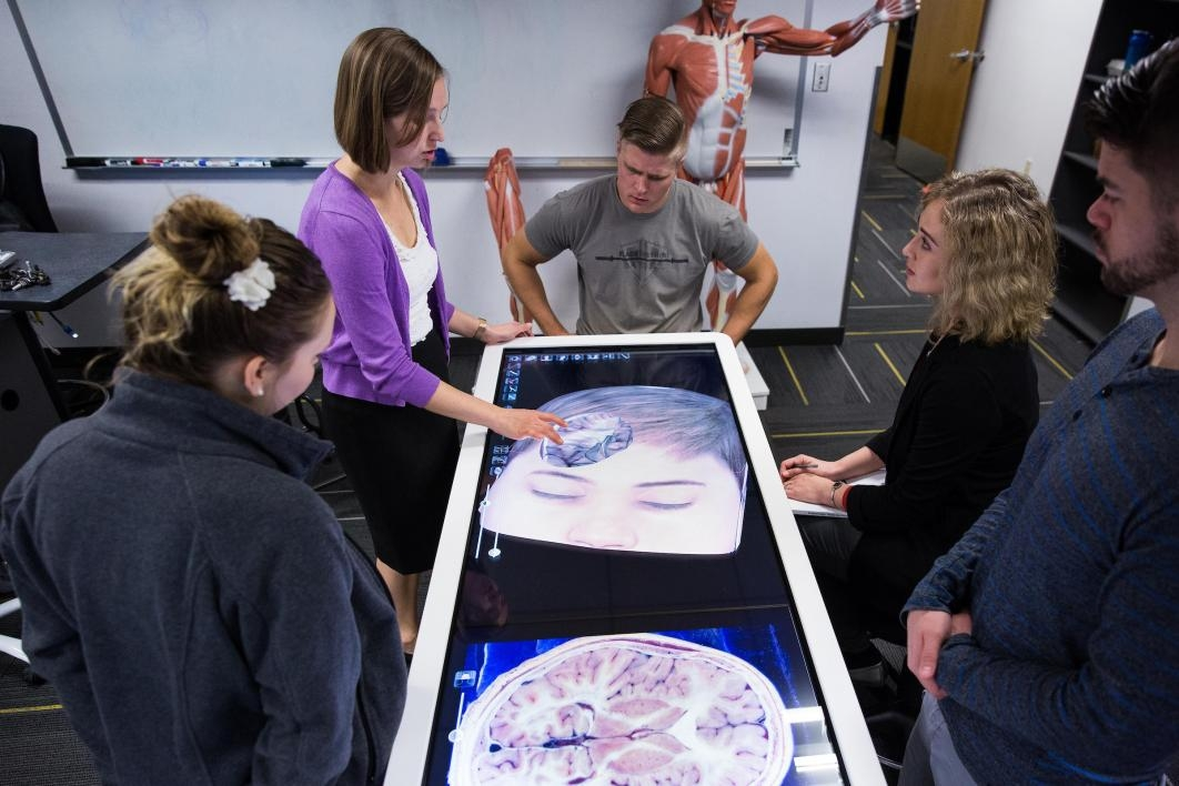 people examining digital cadavar
