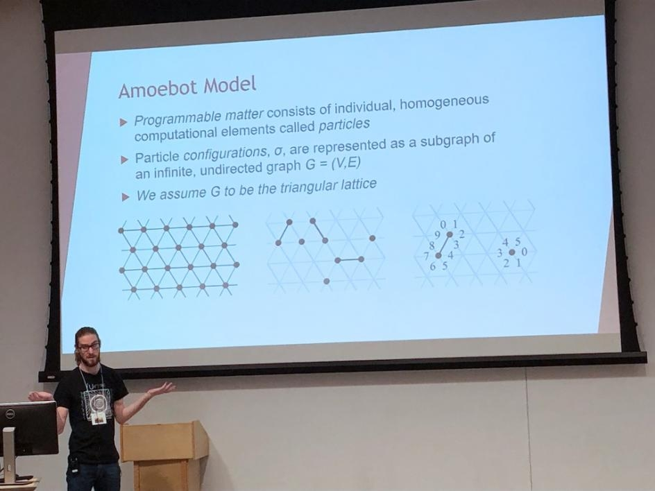 Kevin Lough presented his research on Enumeration Methods and Series Analysis of Self-Avoiding Walks on the Hexagonal Lattice, with Applications to Self-organizing Particle Systems