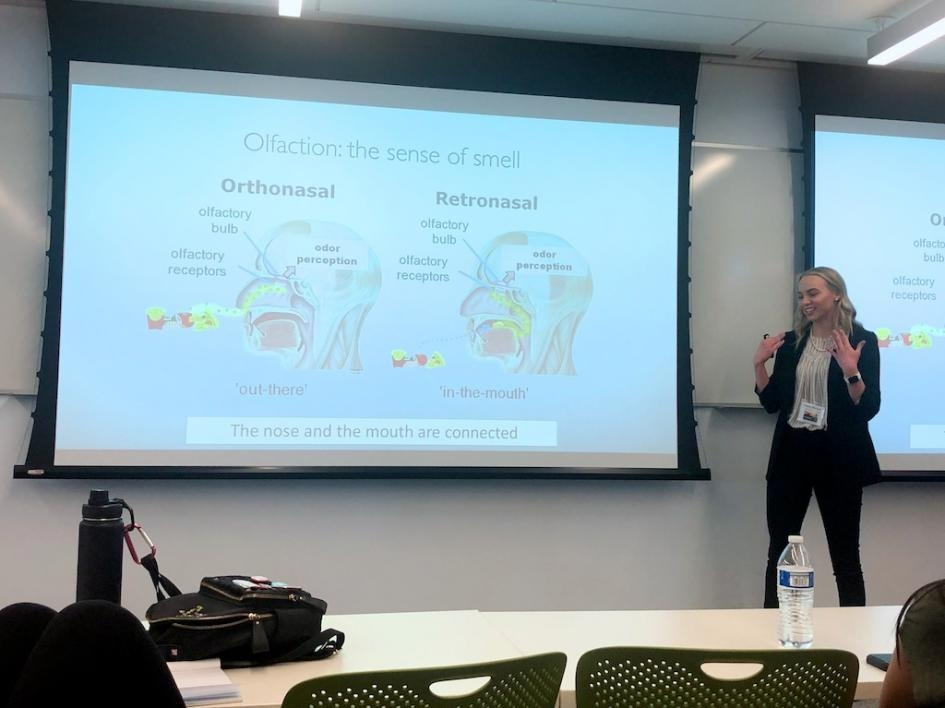 Computational mathematical sciences senior Charly McCown gave a talk on Predicting Perceived Odor Intensity, mentored by professor Sharon Crook