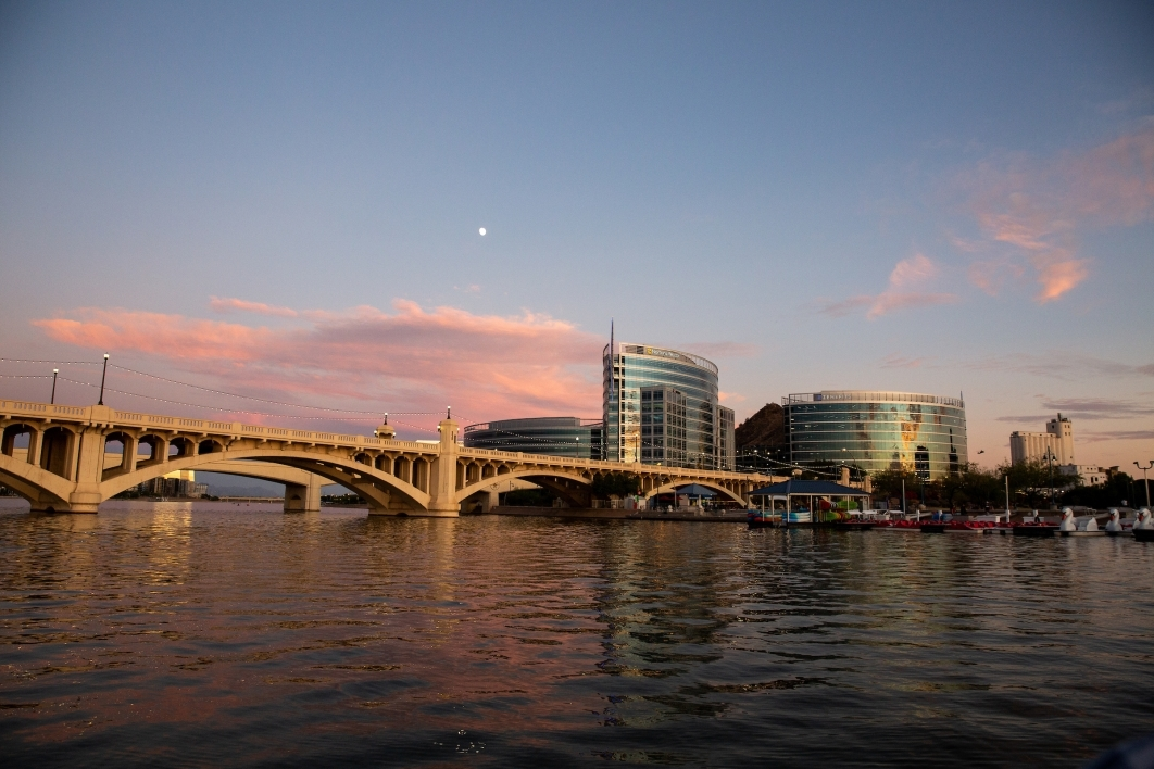 Bridge across Tempe Town Lake at sunset