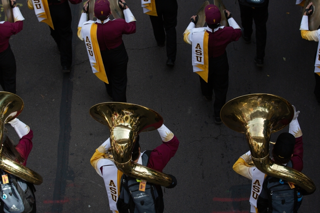 overhead view of tubas in a marching band in a parade