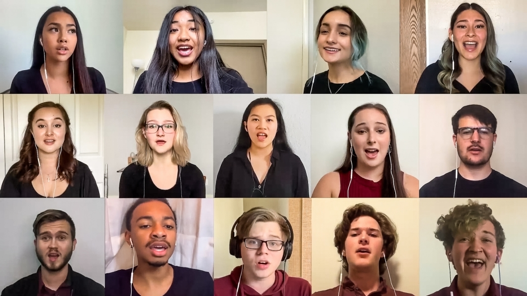 Zoom collage of Devil Clefs a cappella group
