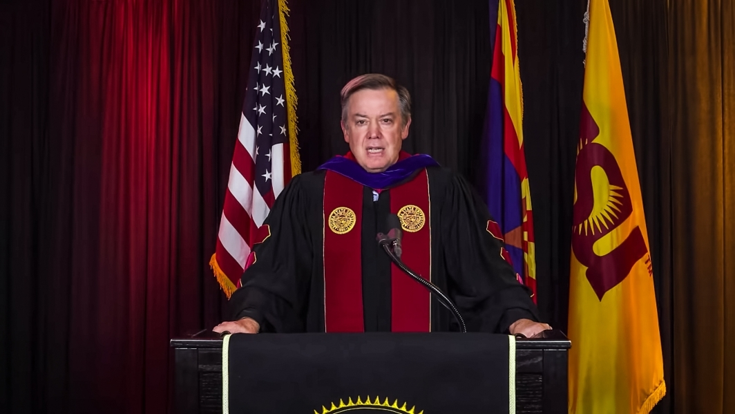 Screenshot of President Crow addressing the virtual commencement