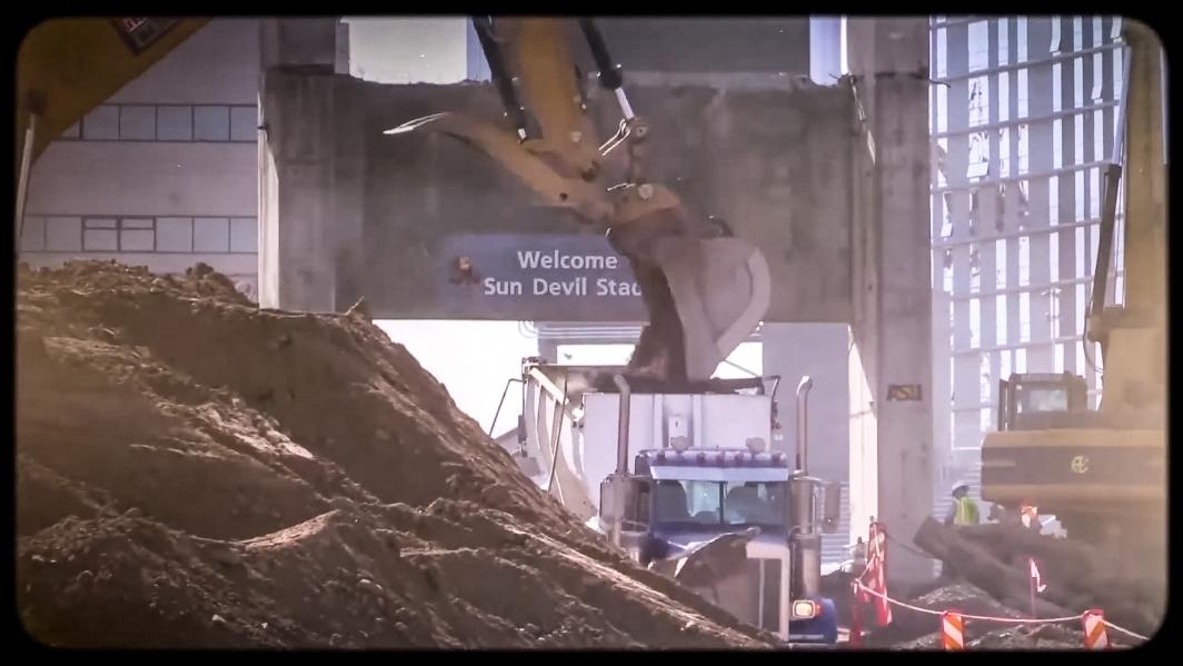 Screenshot of stadium renovation underway
