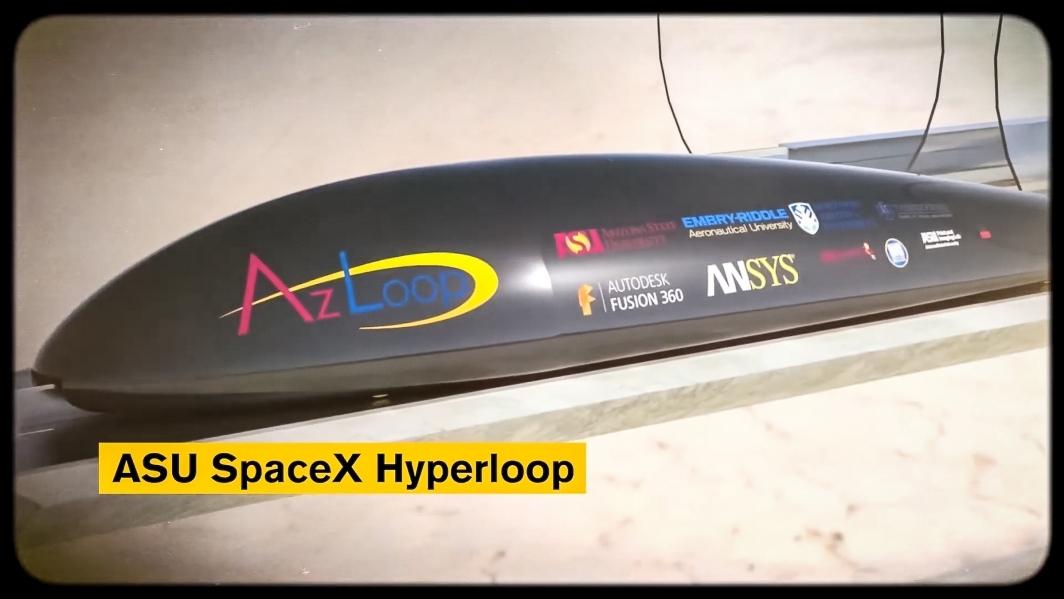 Hyperloop pod on tracks