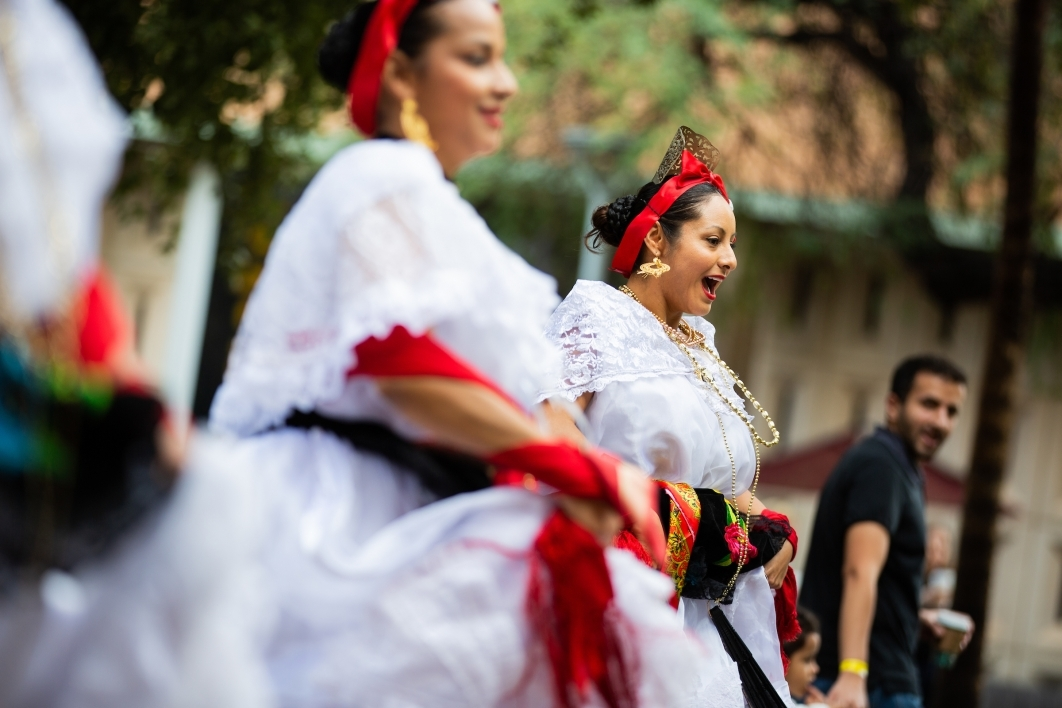 two Mexican dancers performing