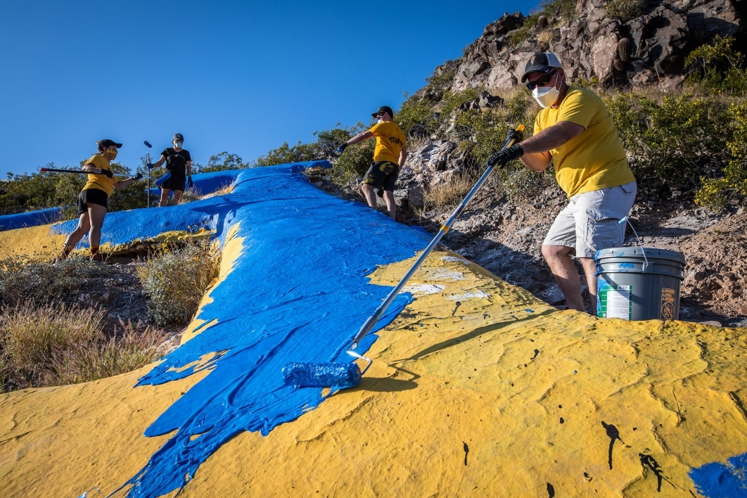 painting the 'A' blue