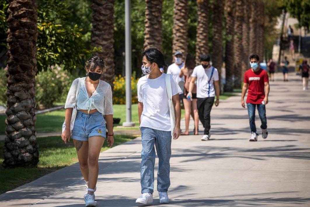 Students walk on the Tempe campus