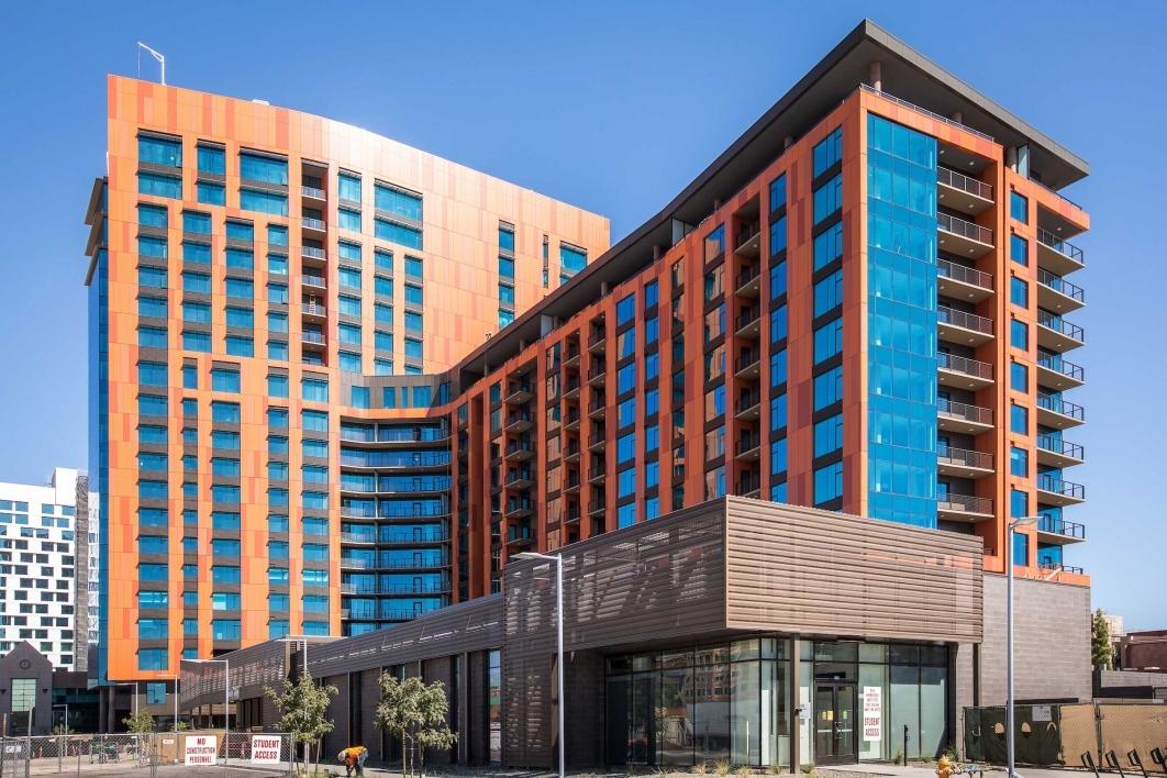 Exterior shot of the new Mirabella senior living high-rise at ASU
