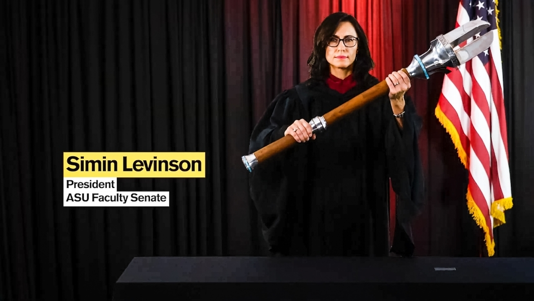 Simin Levinson presents the University Mace at the ASU virtual fall 2020 commencement