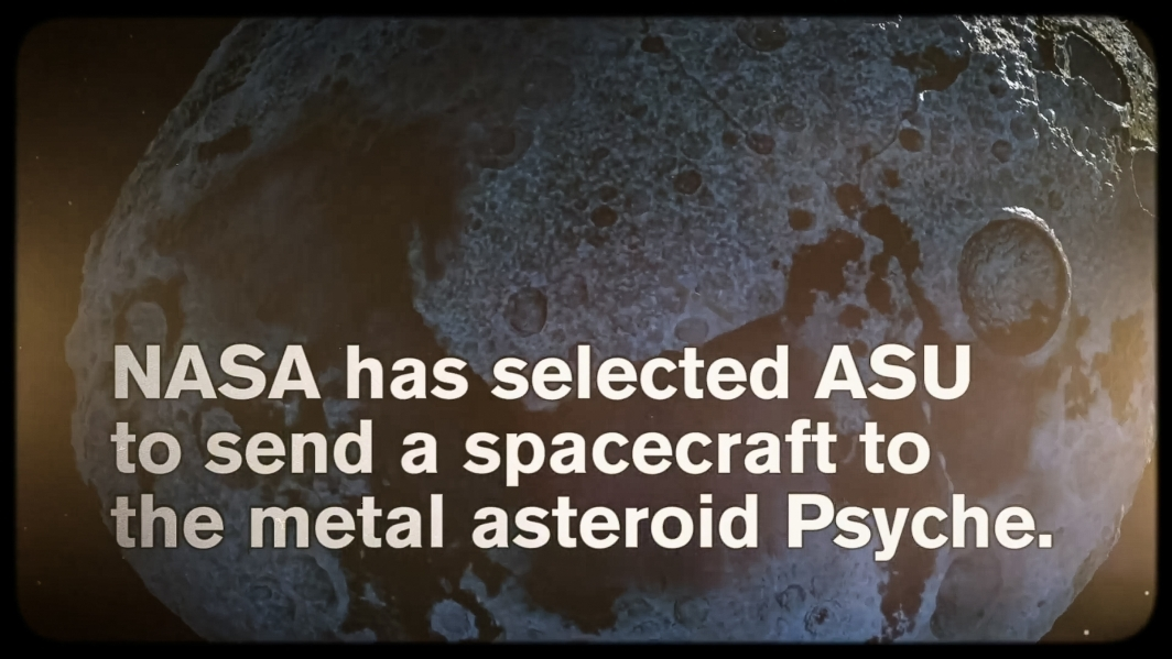 A screenshot of a video with text about the NASA Psyche mission